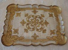 Vtg Italian Gold Gild Antique Cream Flourish Florentine Serving Tray Appro 12x16 #MitaFlorenceItaly