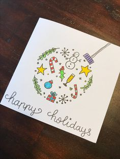 Easy Christmas Cards for Kids to Make on a Budget – Ball Ornaments Einfache W. Homemade Christmas Cards, Merry Christmas Card, Xmas Cards, Christmas Art, Homemade Cards, Holiday Cards, Happy Holidays Cards, Christmas Drawing, Christmas Paintings