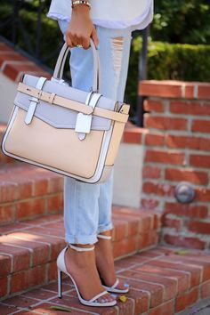 love this pastel bag!..strappy sandals.....<3