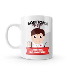 Mug - Aquí toma el mejor enfermero del universo, encuentra este producto en nuestra tienda online y personalízalo con un nombre o mensaje. Chocolate Caliente, Snoopy, Mugs, Tableware, Character, Social, Art, Dietitian, Occupational Therapist
