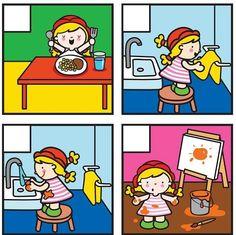Ahojte priatelia. Našla som pekne obrázky. Spolu s deťmi si môžeme rozprávaťčo na nich je a zároveň správne poukládať ;-) Sequencing Worksheets, Sequencing Cards, Worksheets For Kids, Speech Therapy Activities, Language Activities, Preschool Learning, Kindergarten Activities, Story Sequencing Pictures, Picture Story Writing