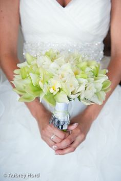 White and green bouquet with cymbidium orchids-Royal Lahaina Resort Maui