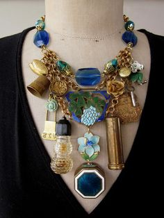 Vintage Necklace Charms Bib Necklace  Vanity Fair by rebecca3030, $199.00