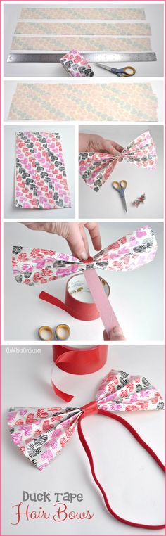 Duck Tape Hair Bows Craft Idea and Tutorial for Tween Girls Cute Crafts, Crafts To Do, Diy Crafts, Diy Hair Bows, Diy Bow, Tween Craft, Crafty Craft, Duct Tape Bows, Duck Tape Crafts