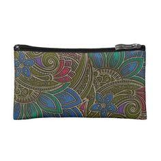 Elegant Faux  Leather  Oriental Floral design Makeup Bag - elegant gifts classic stylish gift idea diy style