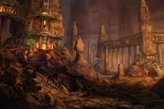 Architecture Fantasy Art Fictional Landscapes Philip Straub Pillars Rock Formations Rocks Stairways