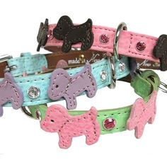 Leather doggies and Swarovski Crystals decorate this fun collar.