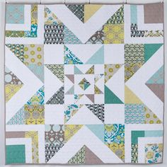 Triple Barn Star Quilt Kit - White....72 inch square..... 4.5inch blocks in center and 9 inch blocks outer