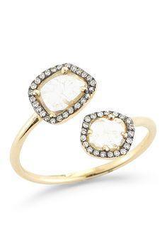 14K Gold Black Rhodium Diamond Slice Ring - 0.38 ctw - Size 7 by Lily & Isabella on @HauteLook