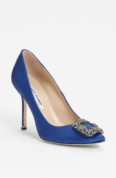 SOMETHING BLUE!!! I NEED THEM! Manolo Blahnik 'Hangisi' Jeweled Pump available at Nordstrom