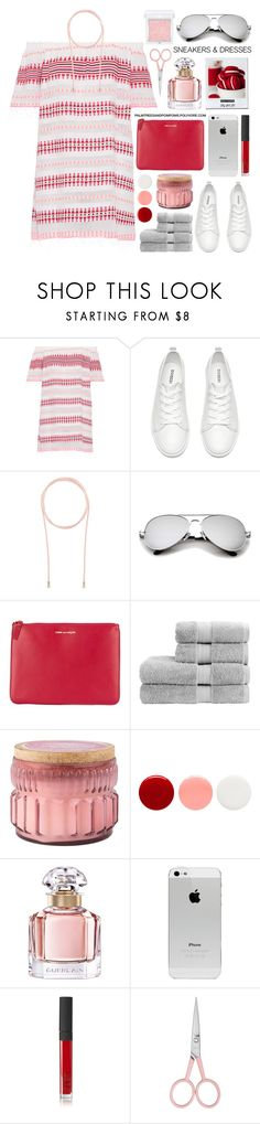 """""""Sporty Chic: Sneakers and Dresses"""" by palmtreesandpompoms ❤ liked on Polyvore featuring Lemlem, Witchery, Comme des Garçons, Christy, Vineyard Hill Naturals, Eve Snow, Guerlain, NARS Cosmetics, Anastasia Beverly Hills and RMK"""