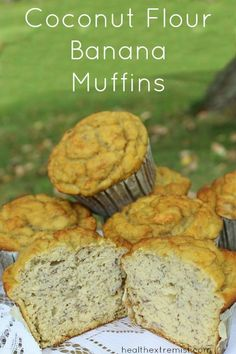 Paleo Banana Muffins made with Coconut Flour - Gluten free, .- Finest Ever Coconut Flour Paleo Banana Muffins – Gluten free, grain free, dairy free, refined sugar free - Paleo Dessert, Dessert Sans Gluten, Low Carb Dessert, Healthy Desserts, Dessert Recipes, Snack Recipes, Diabetic Snacks, Muffins Sans Gluten, Paleo Banana Muffins