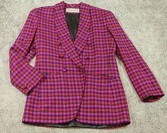 Evan Picone Plaid Checks Wool Blazer Jacket Womens Size 8 Pink Navy Green