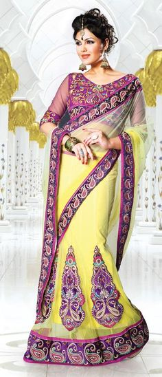 $89.93 Yellow Embroidery Lehenga Style Saree 26658