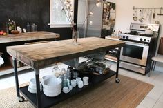 industrial table with wood block top for kitchen island