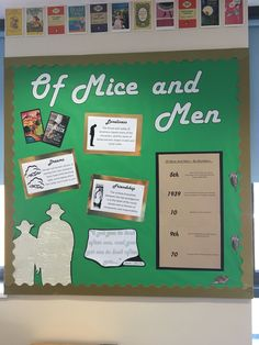 Of Mice And Men Display Board English Classroom Displays, Of Mice And Men, English Literature, Roald Dahl, Display Ideas, School Stuff, Teaching Ideas, School Ideas, Classroom Ideas