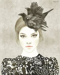 I wonder what it is with aquarelle that makes drawings so incredible natural in a way. 'Crows hat' by Madame Lolina