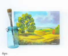 Vintage Meadows Painting • Signed • Rolling Hills • Valley • Trees • Nature Scene • Farm Painting • Acrylic Painting • Pastures ➳ Aligras Vintage on Etsy