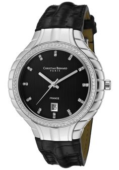 Price:$176.79 #watches Christian Bernard IA368ZNU, Resplendent, sensuous and detailed, with a slightly curved glass and ribbon esges along the casee, expresses its very distinguished character Curved Glass, Ribbon, Christian, Watches, Character, Accessories, Fashion, Tape, Moda