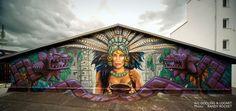 """""""Cacao"""" by LOOMIT & GODLING.  Photo: Randy Rocket https://www.facebook.com/Mr.RandyRocket/?fref=ts  http://www.michaelkiessling.com/murals-2016/"""