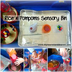 Rice & Pompoms Sensory Bin with DIY Funnels