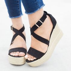 Criss-Cross Fun Wedges - Refresh Shoes Milada-06
