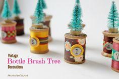 Bottle Brush Tree and Vintage Spool Christmas Decorations