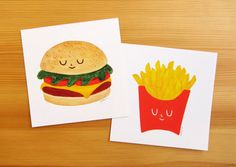 A set of two prints featuring the best combo: Cheeseburger