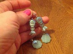 Czech Owl Blossom Heart Dangle Silver Plated Hook Earrings | evezbeadz - Jewelry on ArtFire