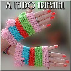 DELICADOS Y COLORIDOS GUANTES. Infinidad de creaciones  tejidas al crochet, para damas, bebés, niños, adolescentes y hombres. Realizo diseños personalizados por encargo.