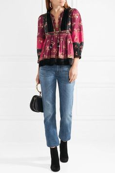 Ulla Johnson - Bijana Velvet-trimmed Embroidered Printed Cotton-blend Blouse