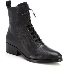 3.1 Phillip Lim Alexa Leather Lace-Up Ankle Boots ($460) ❤ liked on Polyvore featuring shoes, boots, ankle booties, apparel & accessories, black, black ankle boots, lace up bootie, leather lace up boots, black bootie and short black boots