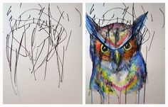 """The Mischievous Mommy: Painting Collaboration with my Two year old   """"The Great Owl""""  As all of our collaborations start, Eve created her own sketch with an ink pen which I then use to turn into a watercolor painting. The sketch is completely her own with no instruction given from me, I simply use her creativity to inspire me to create a painting.   Make sure to watch the time lapse video of the entire process from start to finish!"""