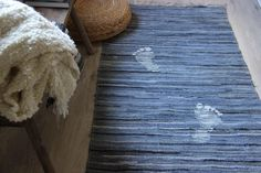 """Handmade Denim Woven Rug With Foots , Cotton Woven Loom Rug , Denim Rug , Floor Rugs , Durable Recycled Denim Rug , 69""""x36"""" , Country by SecondBirthday on Etsy"""
