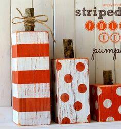 Funny wooden polka dot pupkins - DIY autumn decor // Vidám gerenda tökök - kültéri őszi dekoráció fából //  Mindy -  creative craft ideas //  #diy #csináldmagad #kreatívötletek #fall #autumn #craftideas #crafts