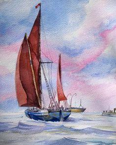 #watercolor #copy #boat #sailboat #sky #clouds #sea  #navigator #waves by saadati.hamid
