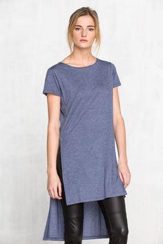 Cortefiel Camiseta larga con aberturas Azul
