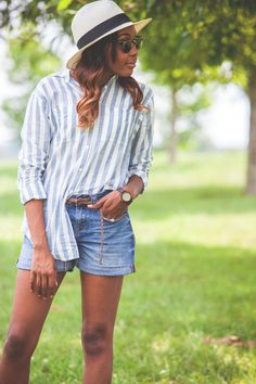 Summer Talks | Live Love and Read | striped shirt outfit, jean short outfit