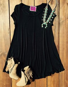 Daydreamer Tshirt Dress - Black