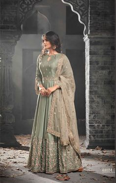 Grey Net Party Salwar Kameez - SKMOHI49004 Grey Mudal Silk Satin Anarkali Salwar Kameez with Thread and Zari Embroidery. Extremely Desirable Style Ethnic Anarkali Suit with Bottom of Santoon Fabric. Comes with a matching Net Dupatta.
