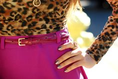 Pink belt & skirt with leopard print. Style inspiration via Hapa Time.
