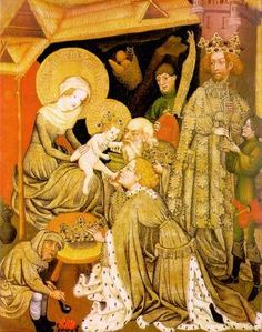 The Adoration of the Magi c. 1420- Look at the gentlemen in the right background- it truly is a dagged explosion