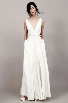 Image result for plain wedding dress with deep v plunging neckline