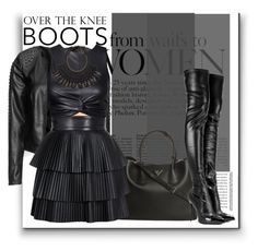 """""""Over The Knee Boots"""" by guruhunter ❤ liked on Polyvore featuring Zizzi, Prada, Alexander McQueen, Forever 21, Balmain, H&M and OverTheKneeBoots"""