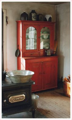 red painted hutch..like the color for another piece of furniture