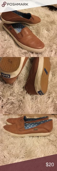 Brown Leather Keds Slip Ons Used, no rips ... As is. Keds Shoes Flats & Loafers