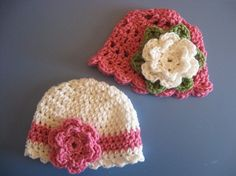 Newborn 3 mth Baby Girl Crochet Hats by monkeysandbananas on Etsy, $10.00