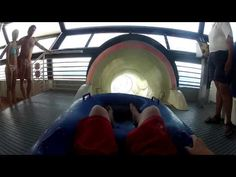 Disney cruise line the aquaduck (waterslide) with onboard camera.