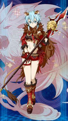 Anime Neko, Manga Anime, Sword Art Online Asuna, Online Anime, Online Art, Elsword, Kawaii, Shino Sao, Sinon Ggo