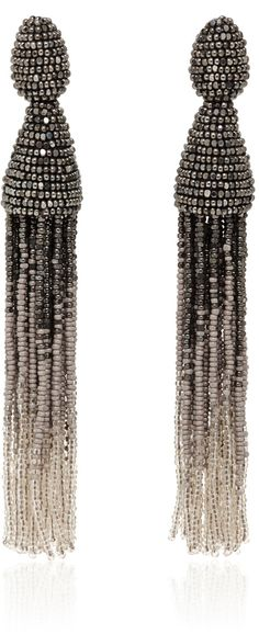 Oscar de la Renta Gunmetal Ombré Tassel Clip On Earrings
